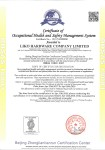 OHSAS 18001 certificate -English